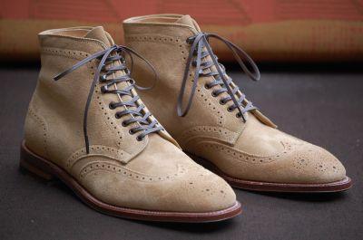 Alden Shoes Tan Suede Flex Plaza Wingtip Boot Leather