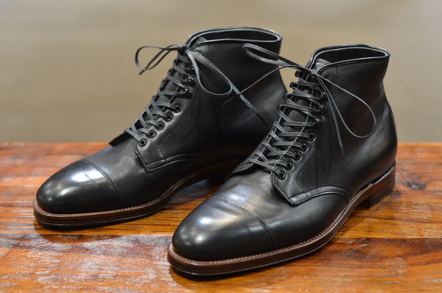 Alden shoes plaza cap toe boot in black calf lsw for The alden